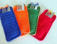 Tecendo Artes em Crochet: Porta Talheres Coloridos!