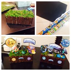 Skylanders centerpiece made from foam blocks, wrapping paper cut outs pasted to poster board for strength, decorative grass and brown painted Popsicle sticks for the wooden edges. After the birthday party, my son kept them as decorations for his skylanders themed bedroom