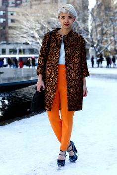 The Best Looks to Hit the Streets at NYFW, Day 3:  A skilled mix of statement pants and a high-impact coat that complement and don't compete.