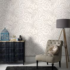 Saville White Wallpaper by Graham and Brown