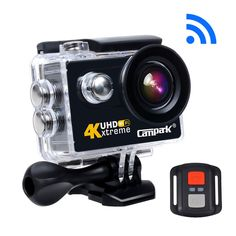 Campark ACT73R 4K WiFi Ultra HD Waterproof Sports Action Camera 30M Underwater Camera with RF Wrist Remote Control Time Lapse Burst Photo Apps for iOS & Android and 2pcs Batteries Included(6G lens)