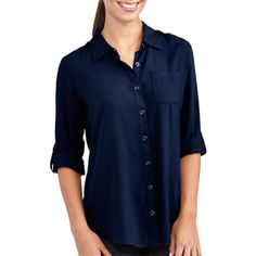 White Stag Women's Button Down Roll Tab Shirt