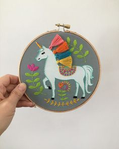 Unicorn embroidery kit with rainbow tassel mane Hand Embroidery Stitches, Embroidery Thread, Embroidery Patterns, Back Stitch, Satin Stitch, Crafts To Do, Printing On Fabric, Needlework, Coin Purse