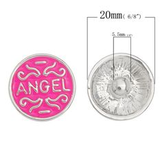 Snap Button Fit Snap Bracelets Enamel Pink Angel Letters Carved 20mm Snap Jewelry