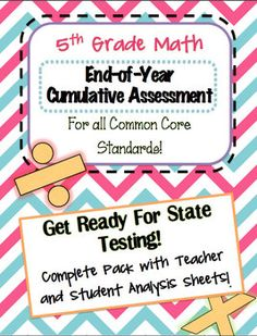 End of Year Assessment over 5th Grade Common Core Math Standards - Fabulous test prep practice!