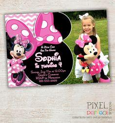 Minnie Mouse Birthday Invitation, Pink Minnie Mouse Polka Dot, Pink Minnie Mouse First Second Third Birthday Invitation Photo Chevron Stripe