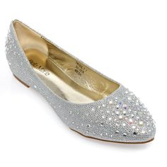 "V-Luxury Womens 40-TRISS7 Pointy Toe Rhinestones Low Wedge Ballerina Ballet Shoes, Silver Glitter, 6.5 B (M) US. Brand: Bella Marie. 1"" Hidden Wedge Heel. Fitment: True to Size/Slightly Smaller. Material: Synthetic. Listing images were taken off actual product, however, actual color may differ slightly due to different monitor display setting."