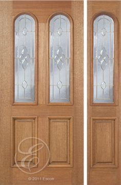 Exterior Solid Mahogany Excellent Legacy Two Lite Radius Decorative Glass Two  Panel Brass Triple Glazed Insulated