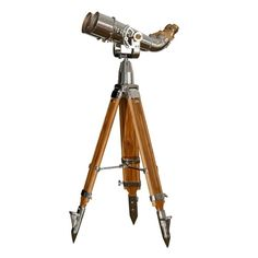 Japanese WWII big eye naval binoculars made of military grade steel, glass, and wood on a wooden tripod. Exterior Design, Interior And Exterior, Mobb, Big Eyes, Telescope, Design Projects, Wwii, Nest, Backpack