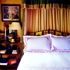 Classic, English bedroom - embroidered bed linens from William Yeoward, Claremont headboard and canopy