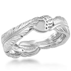 This organic wedding ring has two eagle feathers and two bear claws, spiritual Native American symbols.