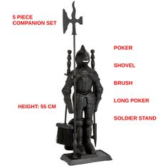 Crafters Cast Iron Knight Soldier Companion Set Fireside Fire Tools Poker Brush