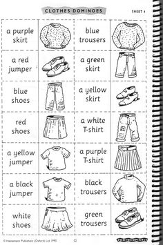 Here are some fun ideas for teaching vocabulary for clothes. Paper dolls … Here are some fun ideas for teaching vocabulary for clothes. Paper dolls bingo: This website has a worksheet and game generator. Teach English To Kids, English Worksheets For Kids, English Lessons For Kids, English Resources, Kids English, Teaching English, Learn English, English Activities For Kids, English English