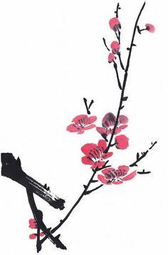 Sakura Painting, Sumi E Painting, Japanese Painting, Chinese Painting, Fabric Painting, Abstract Watercolor, Watercolor And Ink, Watercolor Flowers, Japanese Drawings