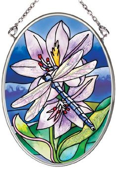 Amia 6438 Hand Painted Glass Suncatcher with Dragonfly Design, 3-1/4-Inch by 4-1/4-Inch Oval by Amia. $9.45. Comes boxed, makes for a great gift. Includes chain. Handpainted glass. Amia glass is a top selling line of handpainted glass decor. Known for tying in rich colors and excellent designs, Amia has a full line of handpainted glass pieces to satisfy your decor needs. Items in the line range from suncatchers, window decor panels, vases, votives and much more.. Save 14% Off!