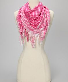 Loving this Pink Plaid Fringe Square Scarf on #zulily! #zulilyfinds