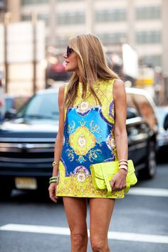 New York Fashion Week: Anna Della Russo wears her neons with neon for a major punch.