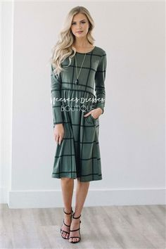 Olive Plaid Soft Dress, Modest Dress Bridesmaids Dress, best modest boutique, cute modest clothes, modest dresses, best online modest boutique, floral dresses, modest dresses for church, modest skirts, buy modest clothes online
