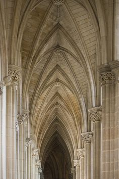 "Downside Abbey church, Somerset ... ""Three architectural features are typical of the Gothic. These are the pointed arch, the ribbed vault, and the flying buttress."