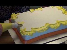 Ruffle and a Straight Border on a Quarter Sheet Cake Cake Decorating Piping, Cake Decorating Supplies, Cake Decorating Tutorials, Cake Piping, Buttercream Cake, Cupcakes, Cupcake Cakes, Birthday Sheet Cakes, Cake Birthday