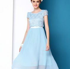 Elegant Round Collar Lace Long Dresses SkyBlue Light Pink