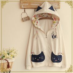 "Cute cat ear hooded coat Enter ""thingsfromjapan"" for 10% off This cute kitty jacket is super kawaii and easy to match with anything kawaii in your closet. Material: cotton Color: rice white. gray. shallow apricot. deep blue. Size: free size Shoulder : 41 cm / 15.99 "". Bust: 100 cm / 39 "". Waist: 102 … … Continue reading →"