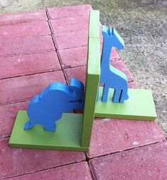 Blue Giraffe and Elephant with Green Base by ProfessorFinley, $34.00