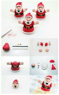 Santa step-by-step tutorial - For all your Christmas cake decorations, please visit www. Santa step-by-step tutorial - For all your Christmas cake decorations, please visit www. Christmas Cake Designs, Christmas Cake Topper, Christmas Cake Decorations, Fondant Decorations, Christmas Cupcakes, Christmas Sweets, Christmas Cooking, Christmas Goodies, Father Christmas
