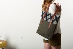 Large Canvas Tote Bag with Leather Straps Black and by SpicerBags