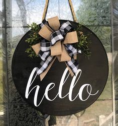 Most recent Images wood Wreath for Front Door Popular Some sort of door wreath offers the particular concluding touches to your house, creating the hot we Front Door Signs, Front Door Decor, Wreaths For Front Door, Front Doors, Wood Wreath, Hello Sign, Wood Circles, Round Door, Year Round Wreath