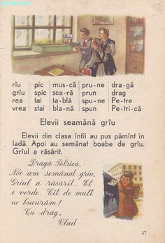 Abecedar 1959 – Un zâmbet de copil… Vintage School, Kids Education, Book Illustration, Vintage World Maps, Nostalgia, Activities, Baseball Cards, Books, Bebe