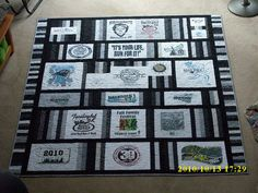 Tshirt quilt assembled in rows rather than squares