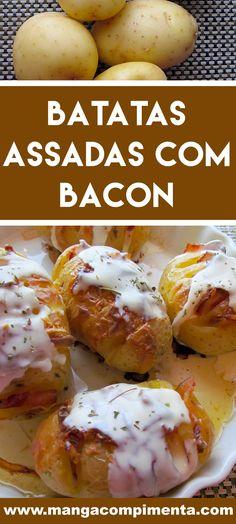 Receita de Batatas Assadas com Bacon - um prato delicioso para as Festas de Final de Ano. #receitas #batatas #ceia #anonovo
