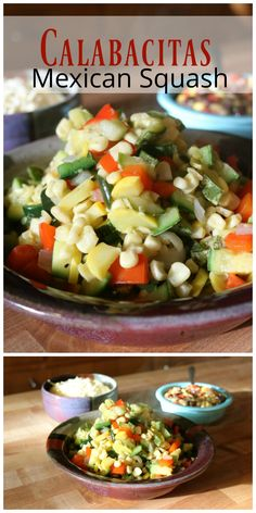 Calabacitas Mexican Squash Saute Summer is the best with lots of fresh vegetables like this super sweet corn salad! Perfect for your outdoor dinning experience.   Find this and lots more Southwestern Flavors at   CeceliasGoodStuff.com | Good Food for Good People