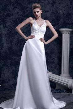 可愛いAラインホルターノースリーブチャペル床まで届く長さダーシャウェディングドレス(SEW1561)