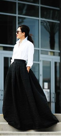 Black Maxi Skirt and White Button Down Shirt- makes me want to go to an opera