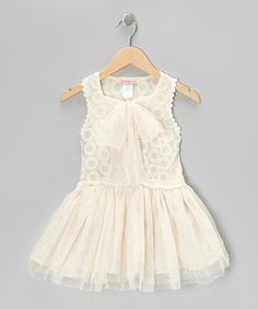 Take a look at this Off-White Embroidered Circle Bow Dress - Toddler & Girls by Paulinie on #zulily today!
