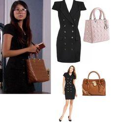 So very classic! Nelly Yuki in a Rachel Zoe dress   via Gossip Girl Fashion