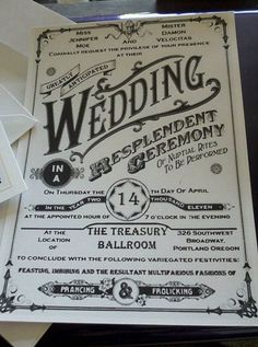 Awesome wedding invite ... looks like it's been pinned twice. The wording of this one reminds me of my Rex and his language usage.