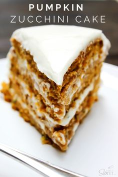 Pumpkin zucchini cake Absolutely dreamy this PUMPKIN ZUCCHINI CAKE is covered in cream cheese frosting, creating the perfect combination for the most delicious cake. Bon Dessert, Dessert Simple, Pumpkin Zucchini Cake, Pumpkin Cakes, Zucchini Desserts, Recipe Zucchini, Pumpkin Recipes, Fall Recipes, Delicious Recipes
