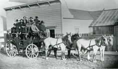 1885 photograph of a stagecoach with four horses - Main Street, Mendocino, CA.  (Kelley House Museum)