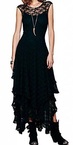 Lace Asymmetrical Long Dress