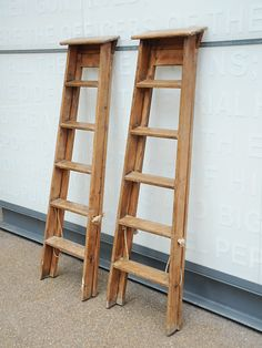 Two nicely aged stepladders. Lightly waxed. Priced & sold together.  origin: UK  year: 1950