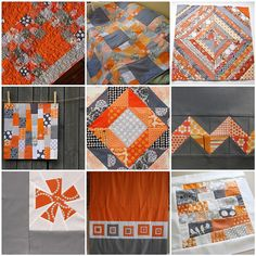 Gray, Orange, & White mosaic for 4X5 Modern Quilt Bee by flickrdeb50, via Flickr