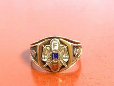 Antique Estate Odd Fellows Signet Style FLT Enamel Ring 10k Gold Size 8.5 | eBay