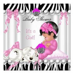 Cute Baby Shower Pink Zebra Cupcake Invitations
