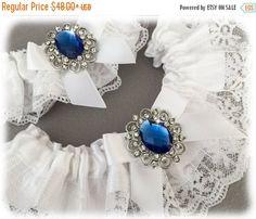 20% OFF White Garter Set Something Blue Bridal by GarterQueen