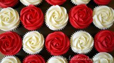 Red & White Rose Cupcakes