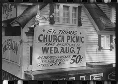 Poster advertising church picnic near Bardstown, Kentucky, 1940 by Marion Post Wolcott | Library of Congress