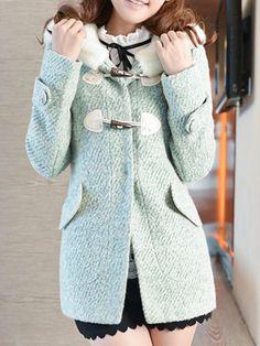 Duffle Wool Coat With Faux Fur Trim Hood - Choies.com